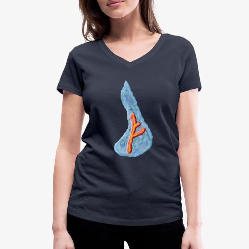 Wassermotiv mit Rune - Frauen Bio-T-Shirt mit V-Ausschnitt von Stanley & Stella