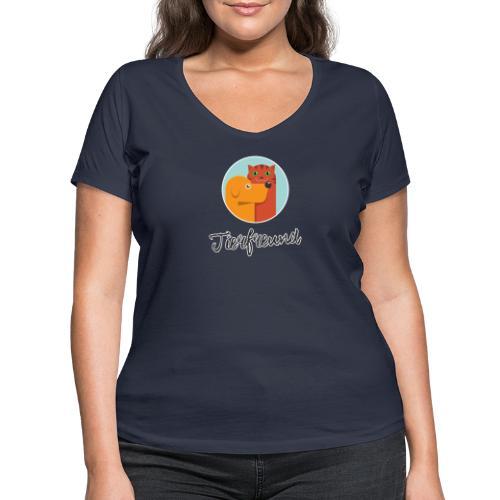 Tierfreund mit Schriftzug - Frauen Bio-T-Shirt mit V-Ausschnitt von Stanley & Stella