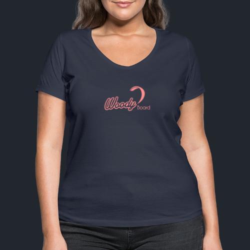 Logo Woodyboard Blanc - T-shirt bio col V Stanley & Stella Femme