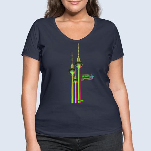 """Berliner Original """"Fernsehturm III"""" PopArt Design - Frauen Bio-T-Shirt mit V-Ausschnitt von Stanley & Stella"""