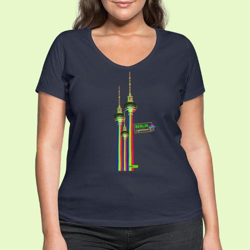 Fernsehturm / BerlinLightShow im Triple-Look - Frauen Bio-T-Shirt mit V-Ausschnitt von Stanley & Stella
