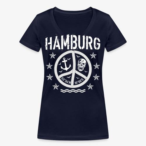 105 Hamburg Peace Anker Seil Koordinaten - Frauen Bio-T-Shirt mit V-Ausschnitt von Stanley & Stella