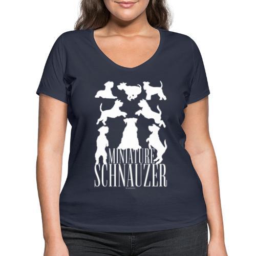 Miniature Schnauzer - Stanley & Stellan naisten v-aukkoinen luomu-T-paita