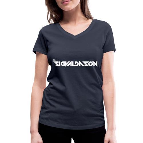 DJ logo hvid - Økologisk Stanley & Stella T-shirt med V-udskæring til damer
