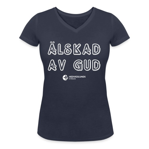 Älskad av Gud - Ekologisk T-shirt med V-ringning dam från Stanley & Stella