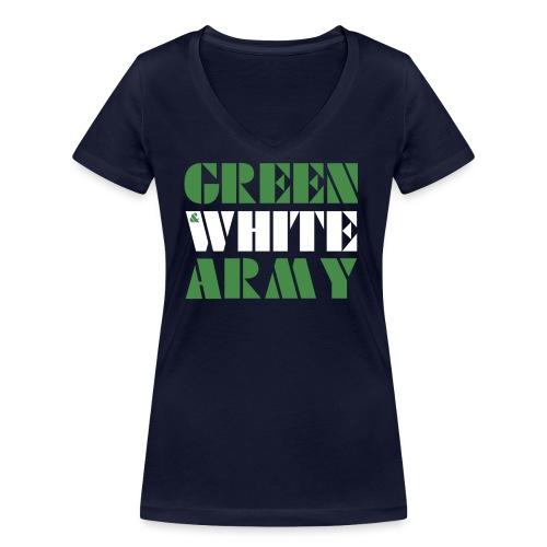GREEN & WHITE ARMY - Women's Organic V-Neck T-Shirt by Stanley & Stella