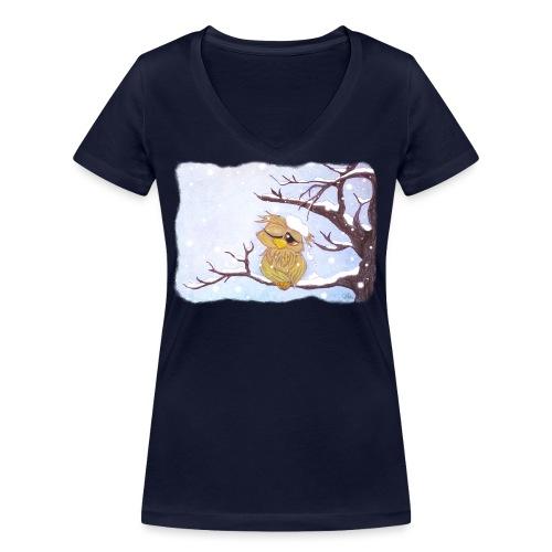 Kauz im Schnee - Frauen Bio-T-Shirt mit V-Ausschnitt von Stanley & Stella