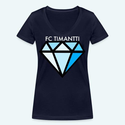 FCTimantti logo valkteksti futura - Stanley & Stellan naisten v-aukkoinen luomu-T-paita
