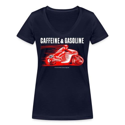 Caffeine & Gasoline white text - Women's Organic V-Neck T-Shirt by Stanley & Stella