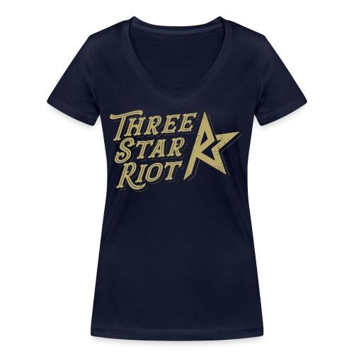 Three Star Riot logo väri - Stanley & Stellan naisten v-aukkoinen luomu-T-paita