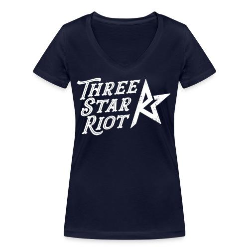 Three Star Riot logo vaalea - Stanley & Stellan naisten v-aukkoinen luomu-T-paita