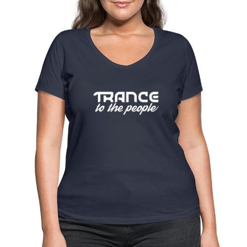 Trance to the People Hvidt Logo - Økologisk Stanley & Stella T-shirt med V-udskæring til damer