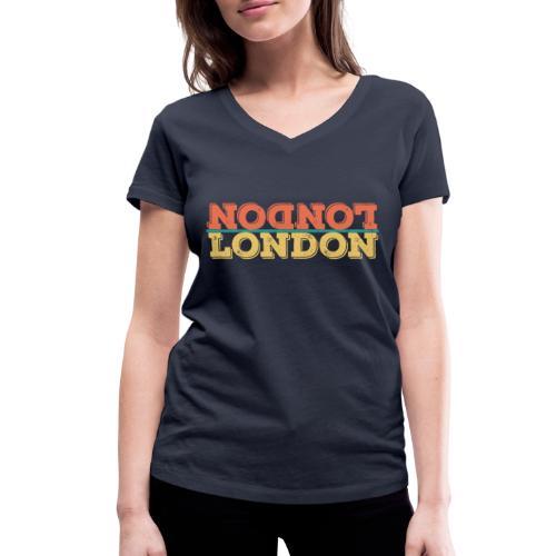 Vintage London Souvenir - Retro Upside Down London - Frauen Bio-T-Shirt mit V-Ausschnitt von Stanley & Stella