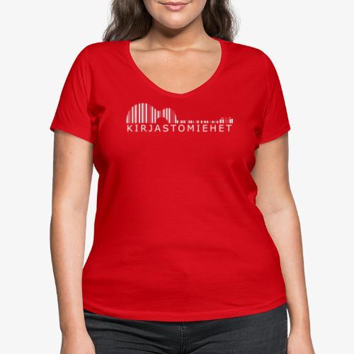 Kirjastokitara valkoinen - Stanley & Stellan naisten v-aukkoinen luomu-T-paita