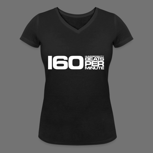 160 BPM (valkoinen pitkä) - Stanley & Stellan naisten v-aukkoinen luomu-T-paita