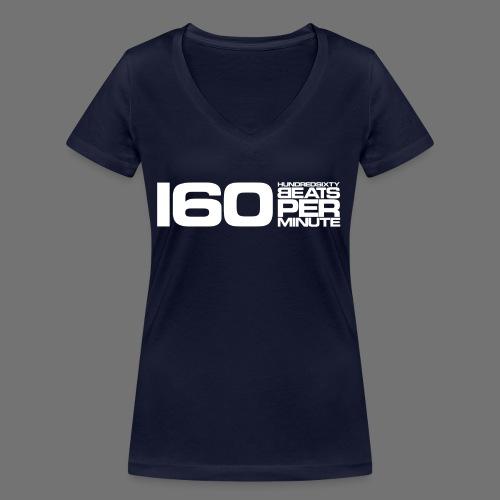160 BPM (hvid lang) - Økologisk Stanley & Stella T-shirt med V-udskæring til damer