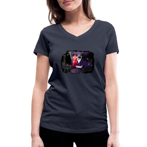 Mr R's Hymn to Lady Rosso Corsa (black PS logo) - Økologisk Stanley & Stella T-shirt med V-udskæring til damer