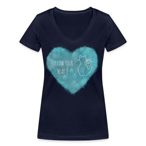 Follow your heart - Frauen Bio-T-Shirt mit V-Ausschnitt von Stanley & Stella
