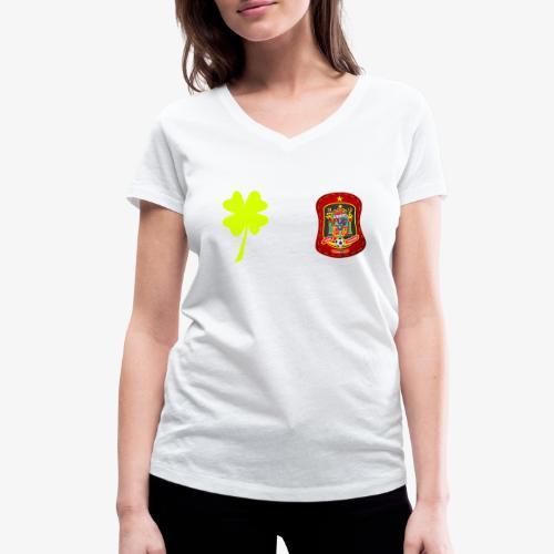 Trébol de la suerte / Escudo rojo / Espalda - Camiseta ecológica mujer con cuello de pico de Stanley & Stella