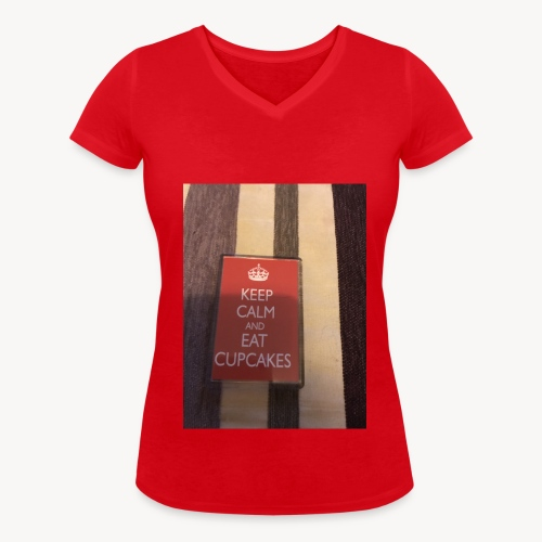 Keep calm and eat cupcakes - Women's Organic V-Neck T-Shirt by Stanley & Stella