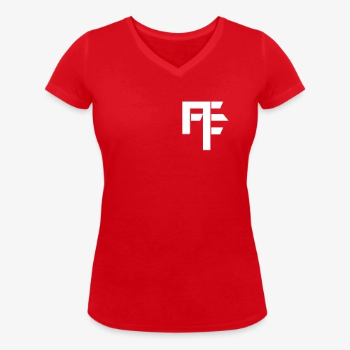 Petit Logo Teamfitfrance Blanc - T-shirt bio col V Stanley & Stella Femme