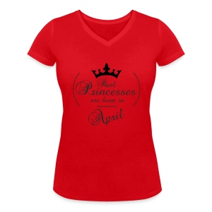 Real Princesses are born in April - Frauen Bio-T-Shirt mit V-Ausschnitt von Stanley & Stella