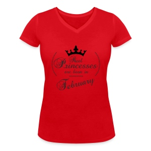 Real Princesses are born in February - Frauen Bio-T-Shirt mit V-Ausschnitt von Stanley & Stella