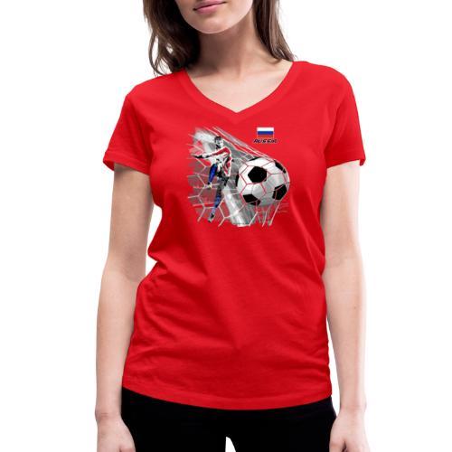 GP22F-04 RUSSIAN FOOTBALL TEXTILES AND GIFTS - Stanley & Stellan naisten v-aukkoinen luomu-T-paita
