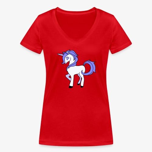 Lila Einhorn - Frauen Bio-T-Shirt mit V-Ausschnitt von Stanley & Stella