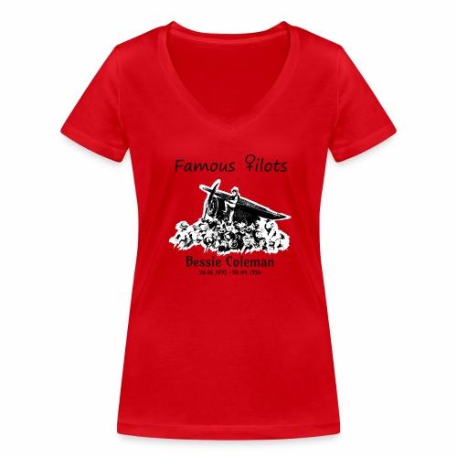 Bessie Coleman Plane sw - Frauen Bio-T-Shirt mit V-Ausschnitt von Stanley & Stella