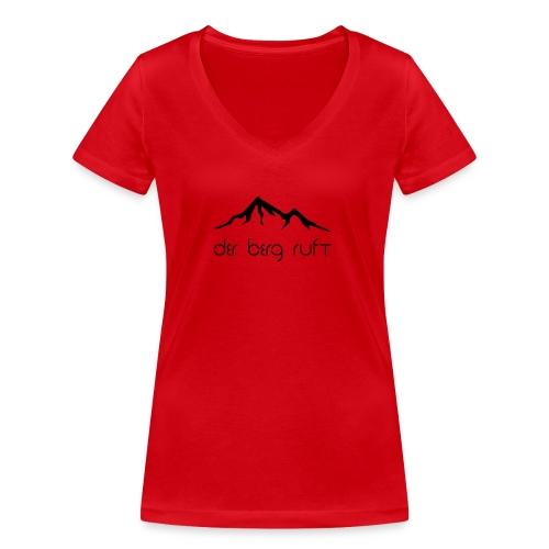 Der Berg ruft schwarz - Frauen Bio-T-Shirt mit V-Ausschnitt von Stanley & Stella