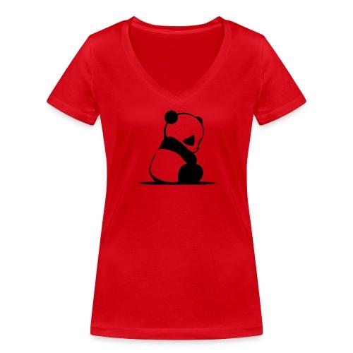Pandabär - Frauen Bio-T-Shirt mit V-Ausschnitt von Stanley & Stella
