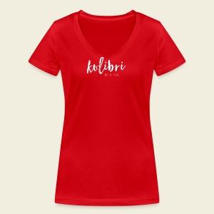 Logo Kolibri Design weiss - Frauen Bio-T-Shirt mit V-Ausschnitt von Stanley & Stella