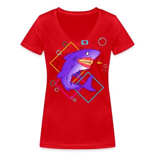 shark and fish - Camiseta ecológica mujer con cuello de pico de Stanley & Stella