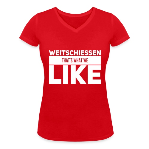 Weitschiessen Schriftzug Weiss - Frauen Bio-T-Shirt mit V-Ausschnitt von Stanley & Stella