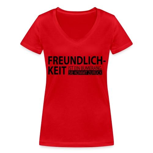 Freundlichkeit - Frauen Bio-T-Shirt mit V-Ausschnitt von Stanley & Stella