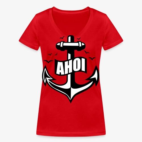 104 Ahoi Anker Möwen maritim - Frauen Bio-T-Shirt mit V-Ausschnitt von Stanley & Stella