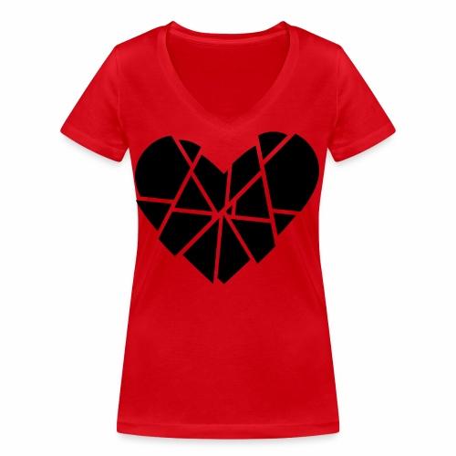 Herz Gebrochen Scherben Splitter Anti Valentinstag - Frauen Bio-T-Shirt mit V-Ausschnitt von Stanley & Stella