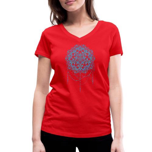 Blue mandala - Økologisk Stanley & Stella T-shirt med V-udskæring til damer