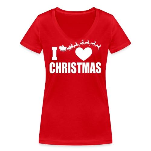 I Love Christmas Heart Natale - T-shirt ecologica da donna con scollo a V di Stanley & Stella