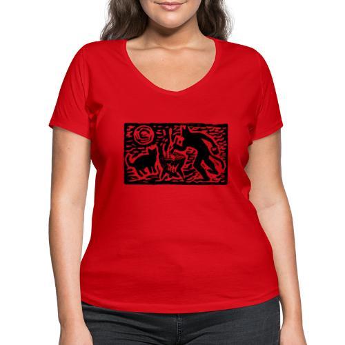 Teufel mit Katze - Frauen Bio-T-Shirt mit V-Ausschnitt von Stanley & Stella