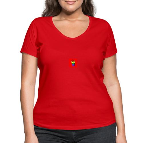 Lgbt Faust Protest roter Hintergrund - Frauen Bio-T-Shirt mit V-Ausschnitt von Stanley & Stella
