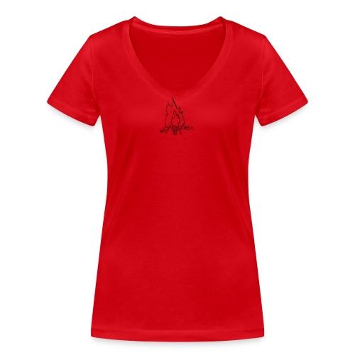 Fire bw - T-shirt ecologica da donna con scollo a V di Stanley & Stella