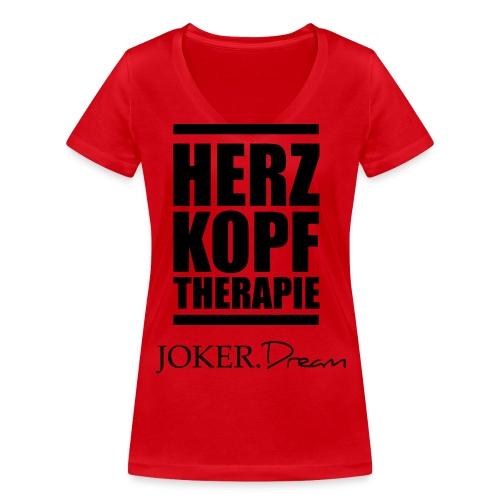herzkopf - Frauen Bio-T-Shirt mit V-Ausschnitt von Stanley & Stella