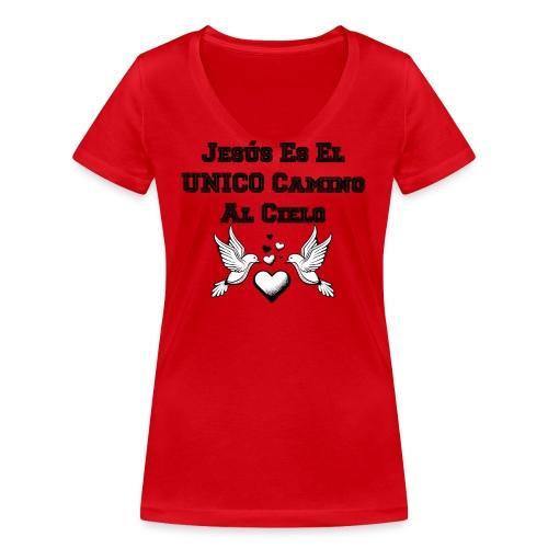 Jesus Unico camino al cielo - Camiseta ecológica mujer con cuello de pico de Stanley & Stella