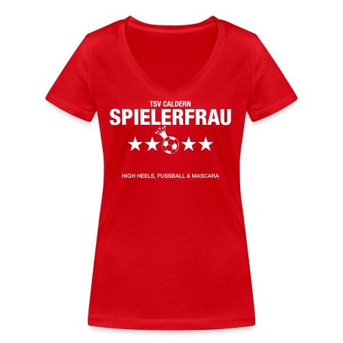 Spielerfrau High Heels, Fussball und Mascara - Frauen Bio-T-Shirt mit V-Ausschnitt von Stanley & Stella