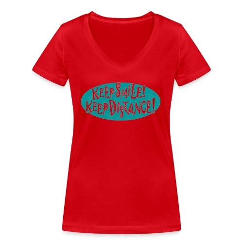 keep smile! - keep distance! - Frauen Bio-T-Shirt mit V-Ausschnitt von Stanley & Stella
