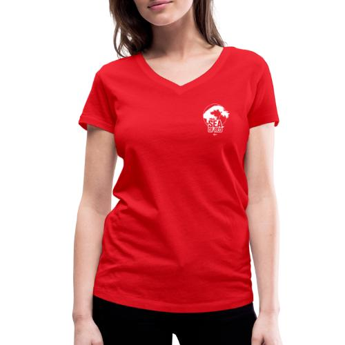 Sea of red logo - white small - Women's Organic V-Neck T-Shirt by Stanley & Stella