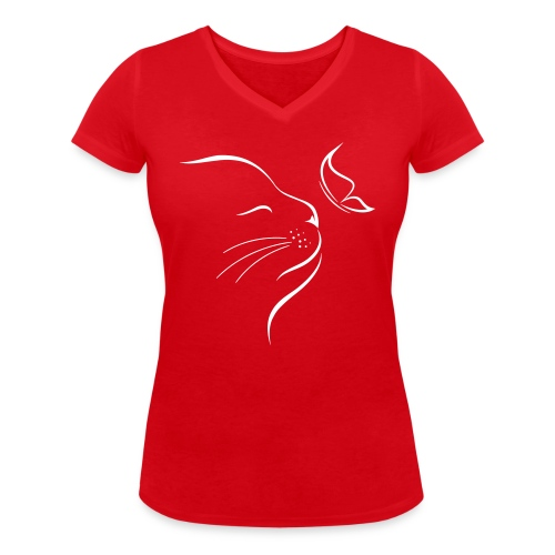 Vorschau: cat butterfly - Frauen Bio-T-Shirt mit V-Ausschnitt von Stanley & Stella