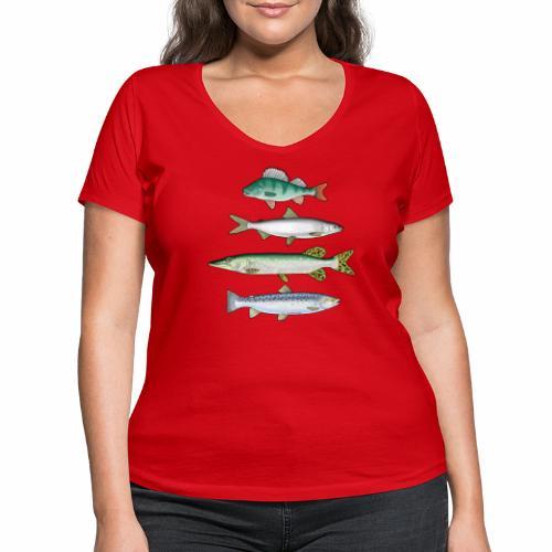 FOUR FISH - Ahven, siika, hauki ja taimen tuotteet - Stanley & Stellan naisten v-aukkoinen luomu-T-paita